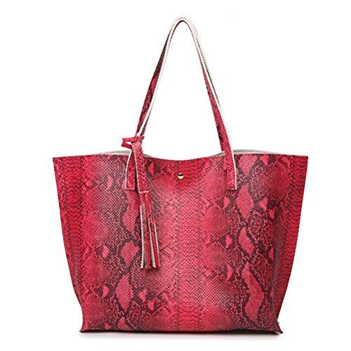 Serpentine Sac Cours ZHRUI Cabas Motif Cuir Voyage Main Rouge Tout Fourre en Grand PU Sac de à Shopping Femme TdOxd8