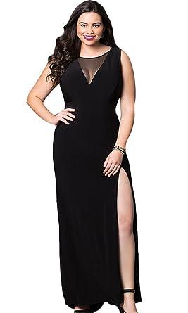 Amazon.com: Selenaly Women\'s V Neck Plus Size Split Long Formal ...