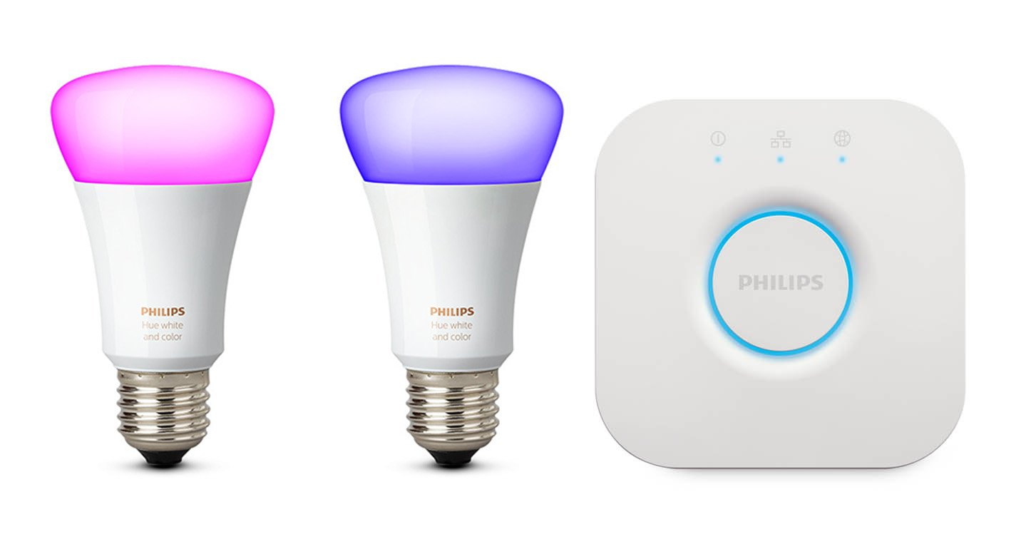 Philips Hue White And Color Ambiance Starter Kit Con 2 Lampadine E27 E Un Bridge, Compatibile Con Google Assistant by Philips