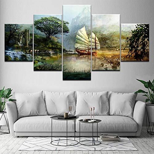 LZYLJR 5 Piece Painting Canvas ,Waterproof Canvas Prints The Guild Wars Wall Art Canvas Print Modern Poster Art Painting for Living Room Home Decor-B1 Frameless