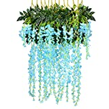 12 Pack 1 Piece 3.6 Feet Artificial Fake Wisteria Vine Ratta Hanging Garland Silk Flowers String Home Party Wedding Decor (Blue)