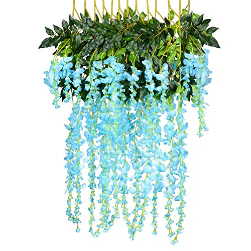12 Pack 1 Piece 3.6 Feet Artificial Fake Wisteria Vine Ratta Hanging Garland Silk Flowers String Home Party Wedding Decor (Blue)