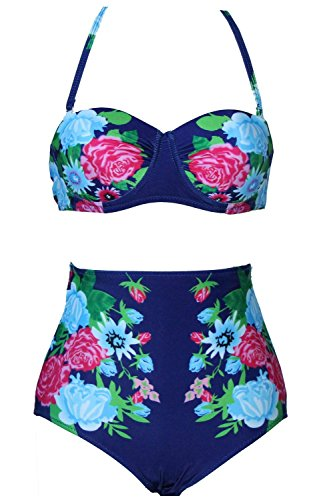 Spring Fever Women Maillot High Waisted Bikini Sets Floral Print Swimwear A Dark Blue S (US:2 4)