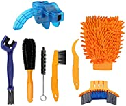 Techson Bicycle Clean Brush Kit, 8 PCS Bike Motorcycle Chain Cleaning Tool Set, Cycling Corner Stain Dirt Clea