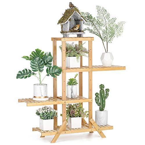 Bamboo Plant Stand Rack, 4-Tier Flower Pots Holder Display Shelf Adjustable Storage Shelving Unit Utility Rack for Bathroom Kitchen Bedroom Hallway ()