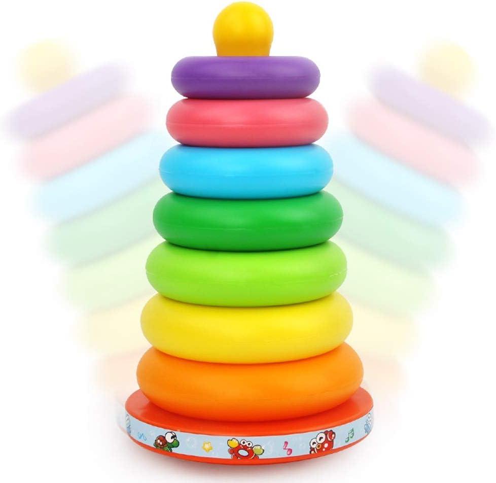 Lihgfw Bebé Jenga Siete Colores del Arco Iris del círculo de la Ilustración Puzzle virola Juguete Educación Inicial, Sin BPA Durante más de 7 Meses: Amazon.es: Deportes y aire libre