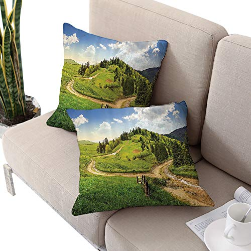 Josepsh Apartment Decor Square Chaise Lounge Cushion Cover,Hillside Meadow Cloudy Sky Fence Near The Cross Road with Fir Trees On Both Sides Green Blue Cushion Cases Pillowcases for Sofa Bedroom Car ()