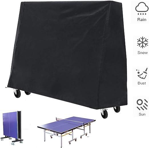 Funda mesa ping pong - funda mesa de ping pong para uso en exteriores e interiores, funda mesa ping pong impermeable con dobladillo con cordón(165×70×185cm): Amazon.es: Deportes y aire libre