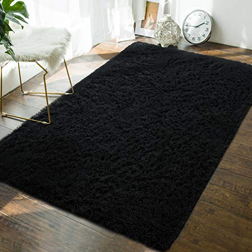 Soft Fluffy Bedroom Area Rugs - 4 x 6 Feet Indoor Modern Shaggy Plush Rug for Boys Kids College Dorm Living Room Home Decor Luxury Solid Accent Floor Carpet by AND BEYOND INC, Black (4x6 Rug Kids)