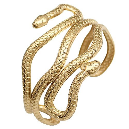 RechicGu Gold Chic Egypt Cleopatra Swirl Snake Arm Cuff Armlet Armband Open Bangle Bracelet with Gift Box