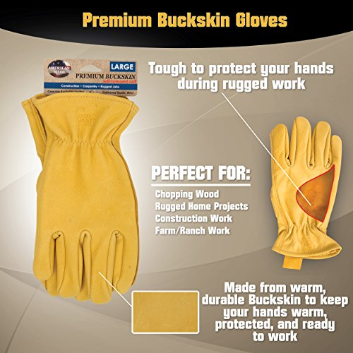 American Made Genuine Deerskin Buckskin Leather Work Gloves , 850, Size: Large by Midwest Gloves & Gear (Image #2)