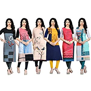 Navlik Women's Crepe Straight Kurti(Pack of 6)