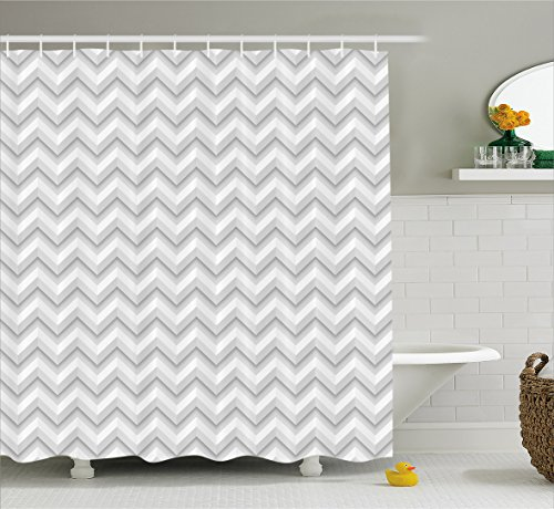 Geometric Decor Shower Curtain by Ambesonne, Simple Zig Zag Chevron Many Angle Pattern Minimalist Abstract Design, Fabric Bathroom Decor Set with Hooks, 70 Inches, Light Grey White