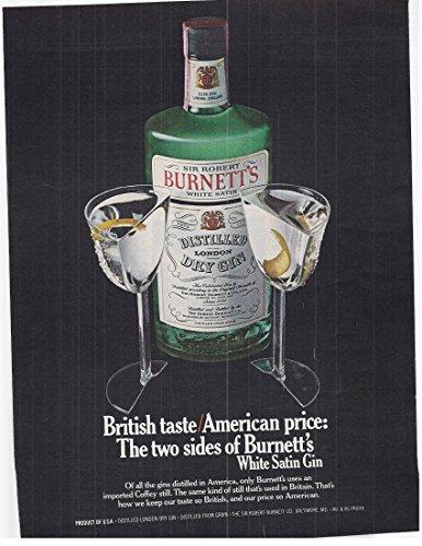 Burnetts Gin - 1979 Vintage Print Advertisement for Burnett's Distilled Dry Gin