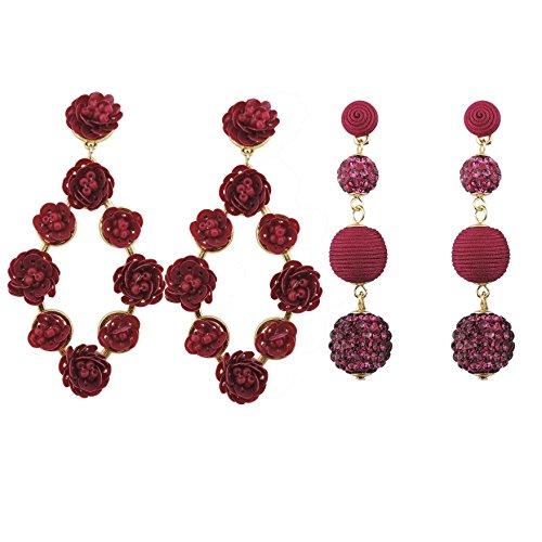 COIRIS 2 Pairs Statement Handmade Thread Crystal Ball Beaded Sequin Dangle Earrings Fashion Drop Earrings For Women (ER1110+1070 (Sequin Beaded Earrings)