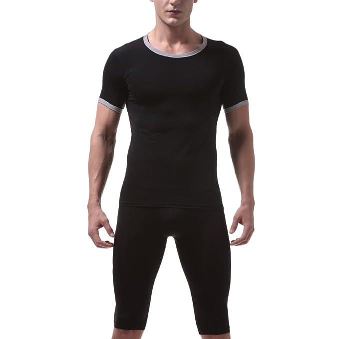 Zhuhaitf Conjunto de ropa interior térmica para Hombre Translucent Underwear Set Soft Comfortable Thin Ice Silk
