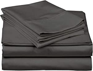 Extra Deep Sheets-Cotton Bed Sheets - 100% Cotton - 400 Thread Count - 22 Inch Extra deep Pocket Fitted Sheet with Elastic All Around (4 Pcs Sheet Set) - (Dark Grey Solid - Cal King Size)