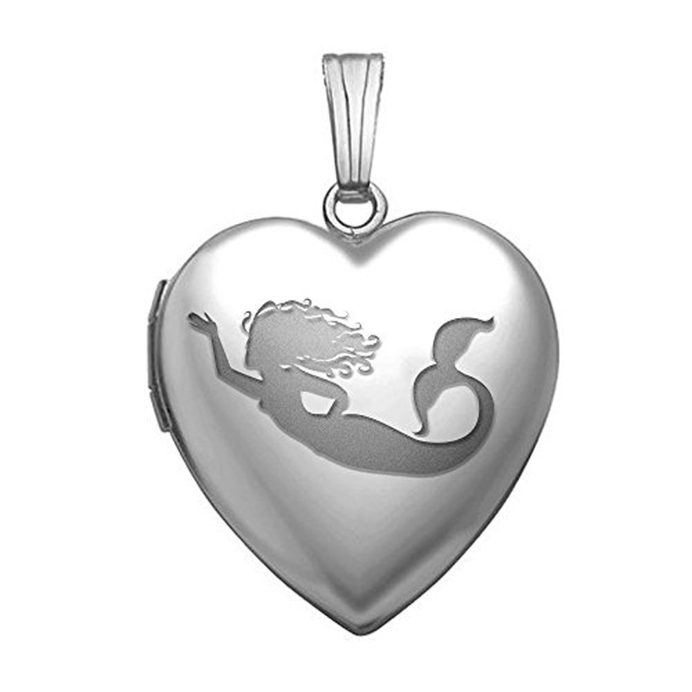 PicturesOnGold.com Mermaid Necklace Locket - Sterling Silver Heart Mermaid Locket - 3/4 Inch X 3/4 Inch WITH ENGRAVING