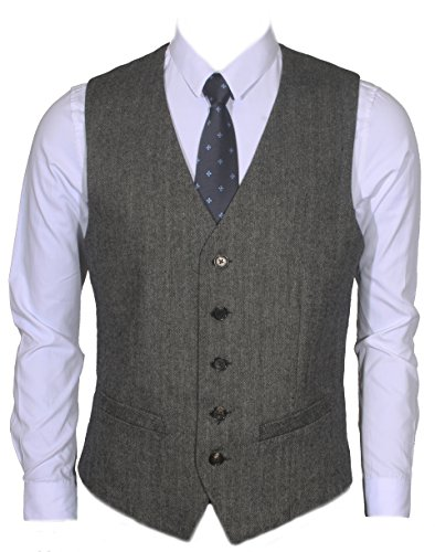 Ruth&Boaz 2Pockets 5Buttons Wool Herringbone Tweed Business Suit Vest (M, Herringbone Black)