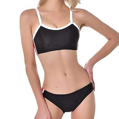 21fb9203fe55a Women's Bikini Sporty Swimsuit Split Swimwear Two Pieces Swimming Costume  Stripe Splice Bra Tops and Bottom Beach Bathing Suit Bikini Set for Ladies  S-XL