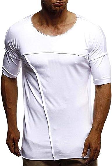 Camisetas Hombre Verano, Lunule Camiseta de Manga Corta de Hombre con Cuello Redondo Slim Fit Camiseta básica Deporte Hombre Casual: Amazon.es: Ropa y accesorios