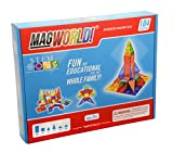Award Winning MagWorld Toys Magnetic Construction Rainbow Colors - 104 Piece Set. Create 2D and 3D Shapes, Figures & Architecture. STEM Play Age 3 and Up.