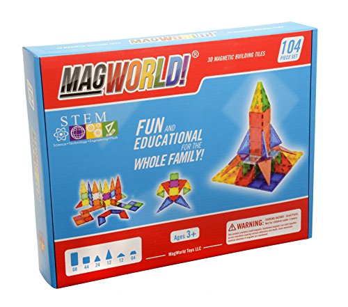 Award Winning MagWorld Toys Magnetic Construction Rainbow Colors - 104 Piece Set. Create 2D and 3D Shapes, Figures & Architecture. STEM Play Age 3 and ()