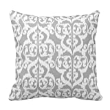 Fuzzy Gray and White Flower Throw Pillow Case Covers Floral Pattern for Home Sofa Decorative 18x18 Inch Two Sides