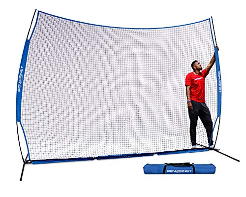 - PowerNet 12 ft x 9 ft Sports Barrier Net | 108 SqFt of Protection | Safety Backstop | Portable EZ Setup Barricade for Baseball, Lacrosse, Basketball, Soccer, Field Hockey, Softball (Royal Blue)