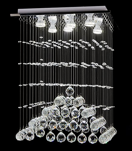 Top Lighting Modern Rain Drop LED Chandelier with Crystal Balls Ceiling Lighting Fixture W18″xL18″xH24″, Bulbs Included