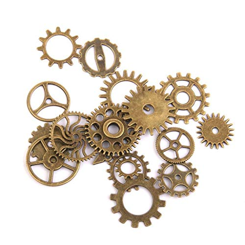 (Antiqued Bronze Silver Gear Charms Steampunk Charms Pendant for Jewelry Making Necklace Jewelry Crafting Key Chain Bracelet Pendants Accessories Best  Color - Antique Bronze,17pcs)