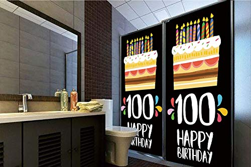 - Horrisophie dodo No Glue Static Cling Glass Sticker,100th Birthday Decorations,Old Legacy 100 Birthday Party Cake Candles on Black Backdrop,Multicolor,39.37