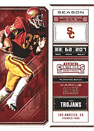 80c4e392f98 2018 Panini Contenders Draft Picks Season Ticket #66 Marcus Allen USC  Trojans Football Card