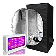 BloomGrow 300W LED Grow Light add Multi-Sized 600D High 96% Reflective Mylar Grow Tent with Plastic Corner Indoor Hydroponic System Kits (LED300W+24''X24''X48''Grow tent)