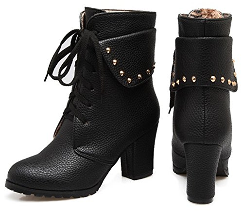 Aisun Women's Vintage Studded Round Toe Fold Collar Ankle Boots Lace Up High Chunky Heels Booties With Studs