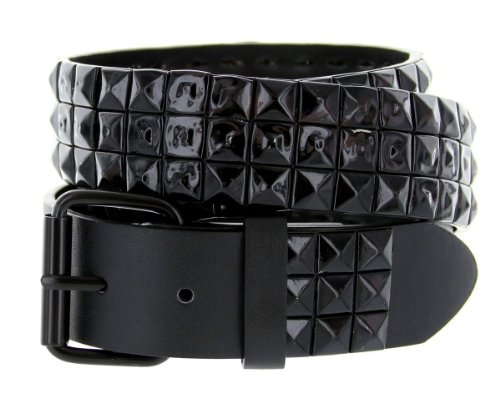 3 Row Pyramid Studded Punk Rocker Leather Belt with Metal Roller Buckle (XL - Stud Black Studded Belt