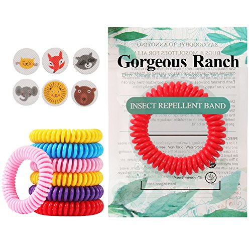 Gorgeous Ranch Mosquito Repellent Bracelets 20 Pack,100% Natural Deet-Free Waterproof Travel Insect Repellent Bands,Non-Toxic Safe Wristband,Outdoor Protection for Baby Kids and Adults