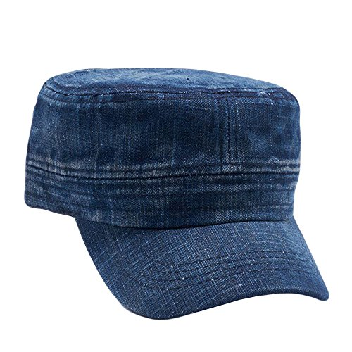 Army Cadet Castro Hat Military Cotton Plain Cap Washed Dark Denim