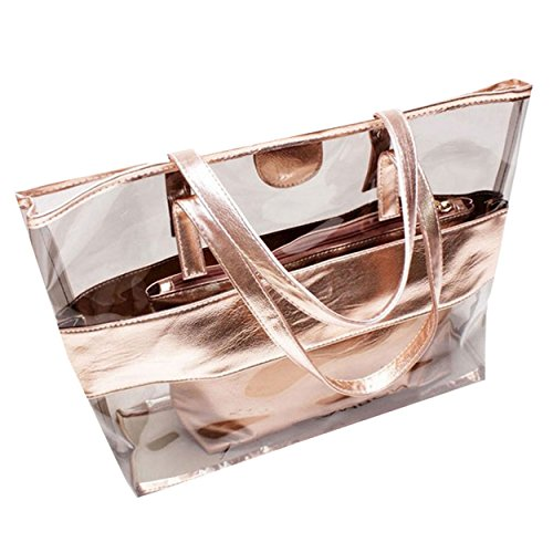 Transparent Champagne Casual Waterproof Women Handbag Beach M Bag amp;A wqPHXXR8