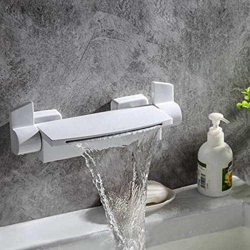 Bathroom Bathtub Faucets Waterfall Tub Faucet New Style White/Black/Gold Brass Dual Handles Dual Control Wall Mounted Mixer Tap (Color : White)