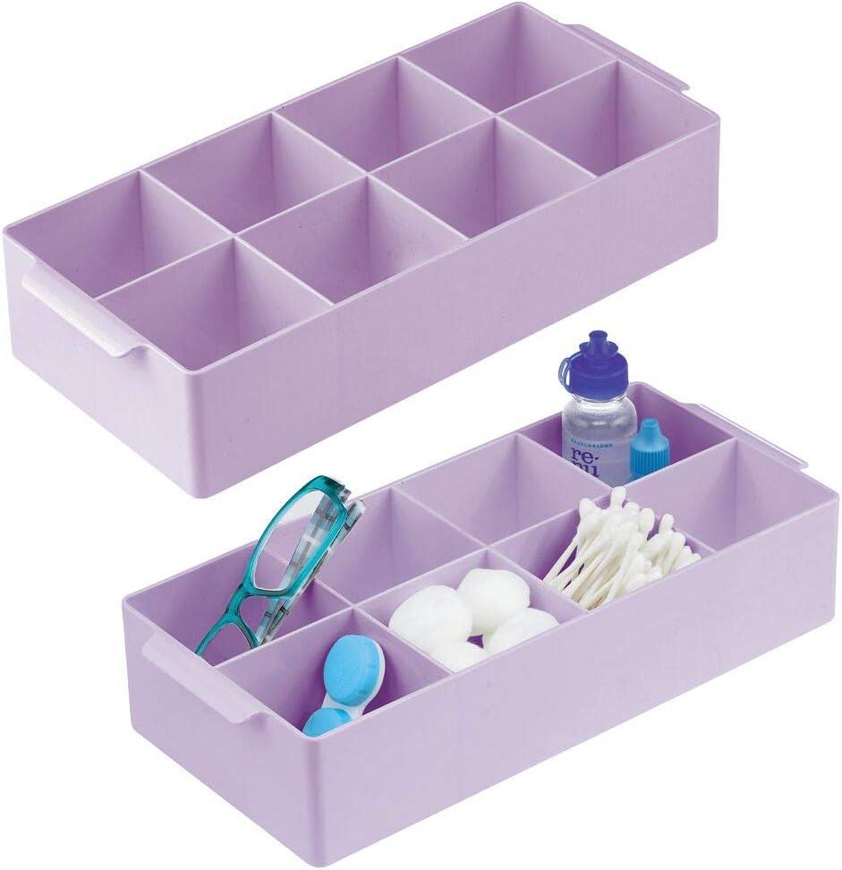 mDesign Juego de 2 cajas organizadoras con 8 compartimentos – Compacto organizador de baño con asas de plástico sin BPA – Práctica caja con divisiones para maquillaje, cosméticos y demás – lila claro