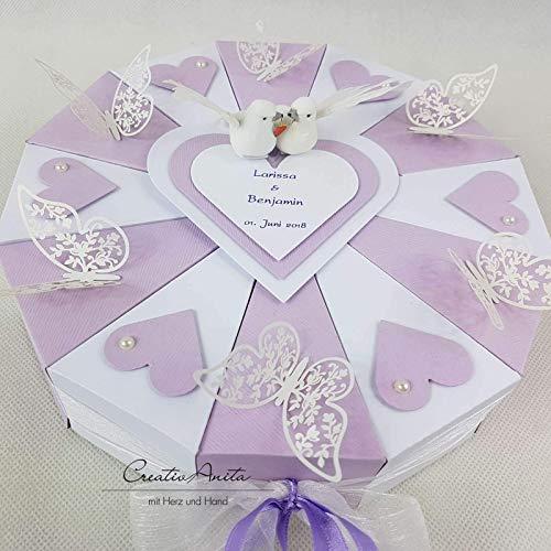 Hochzeitsgeschenk Schachteltorte M Schmetterlingen Herzen