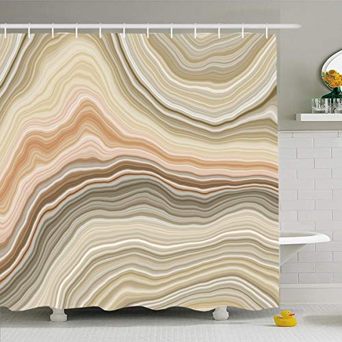 Beige Cream Marble - Ahawoso Shower Curtain 72x72 Inches Agate Beige Wide Onyx Slice Stone Mineral Nature Brown Quartz Section Marble White Arabic Waterproof Polyester Fabric Set with Hooks
