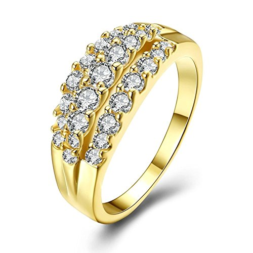 Bishilin Women Rings 3 Rows of Crystal White Wedding Engagament Ring Gold Size 7