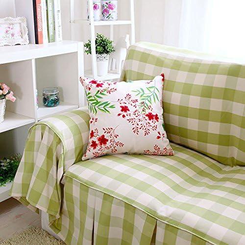 OSY funda para sofá toalla de jardín pequeño verde Plaid algodón ...