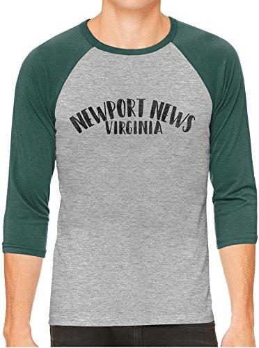 Austin Ink Apparel Unisex Mens City Of Newport News Virginia 3/4 Sleeve Grey Baseball T-Shirt, Green Sleeves, - News Fashion Newport