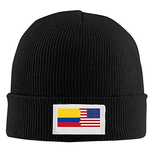 DYM Colombian American Half Colombia America Flag Hedging Warm Winter Hat Stripe Knitted Woolen Caps Knit Cap For Unisex