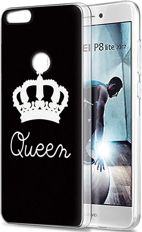 Yoedge Funda Huawei P8 Lite 2017, Silicona Ultra Slim Cárcasa con King Queen Diseño Patrón Bumper Case Cover Fundas para Huawei P8 Lite 2017 Smartphone (Queen, Negro ...