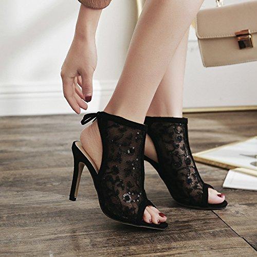White hilado de Rice verano transpirable moda con El talón tallada zapatos zapatos sandalias de boca pescado net expuestos nuevo alto fino de qZp1f