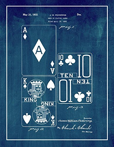Deck of Playing Cards Patent Print Midnight Blue with Border (24